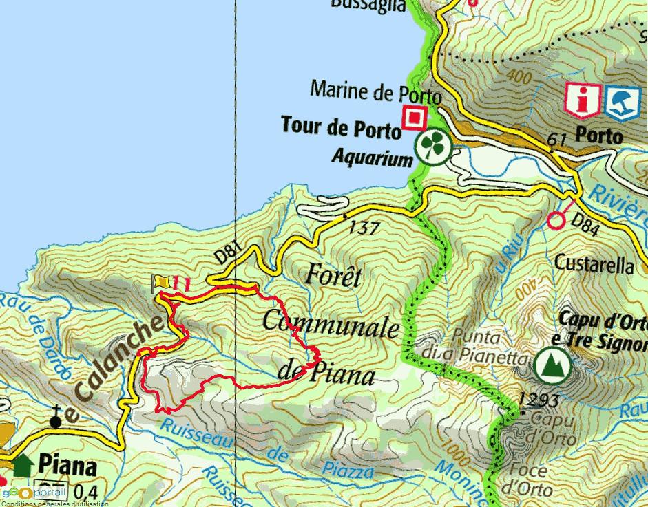 Carte Corse Porto Ota.Rando Piana Dans Les Calanches Les Sentiers A Suivre Porto Ota Corse